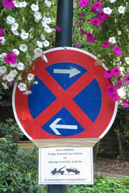 Parkverbot für die Glatzer Wallfahrt